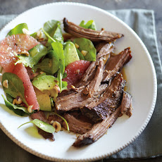 Braised Beef with Arugula and Grapefruit Salad