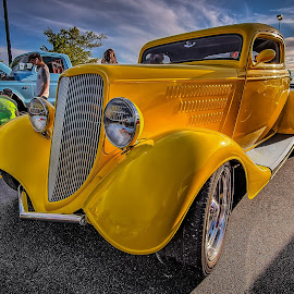 Yellow Sedan by Ron Meyers - Transportation Automobiles