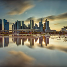 City Reflection by Kristianus Setyawan - City,  Street & Park  Skylines ( reflection, skyline, waterscape, cityscape, city park, landscape, singapore, marina bay, city, nature, landscape photography, nature photography, long exposure, longexposure, city skyline, skyscape )