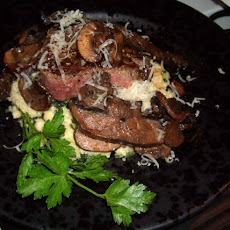 Mushroom Topped Steaks With Creamy Polenta