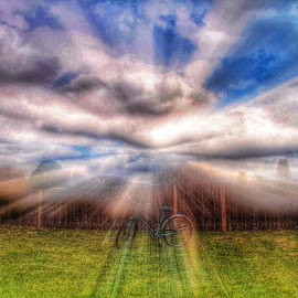 Shine on by Zeralda La Grange - Digital Art Things ( #zoom, #nature, #bike, #abstract, #sky, #hdr )