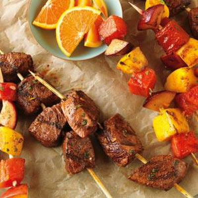 Citrus-Marinated Beef & Fruit Kabobs