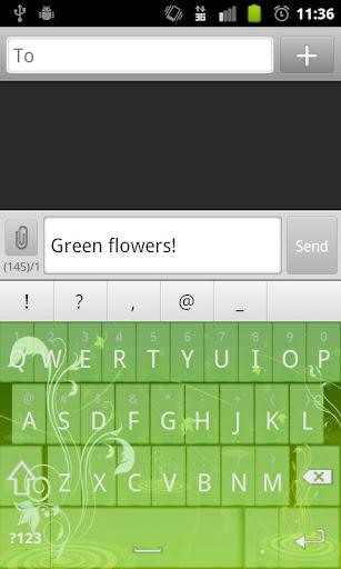 Green Flowers Keyboard Skin