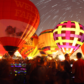 The night before the great race by Jack Scott - News & Events Entertainment ( louis, park, scape, star, forest, fun, balloons, race, vortex, st., missouri, sky, effect, hot, night, air )