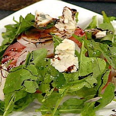 Stack Salad of Beefsteak Tomatoes, Onions, Roquefort Cheese with Balsamic Syrup Drizzle