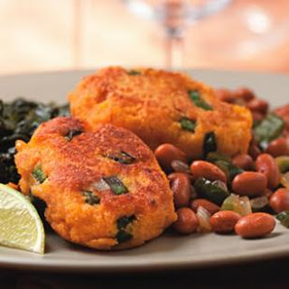 Sweet Potato Fritters with Smoky Pinto Beans