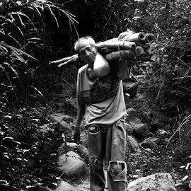 Men at Work by Yhanee Cruz - People Portraits of Men ( bambootree, blackandwhite, old, perseverance, strong, tough, men, portrait )