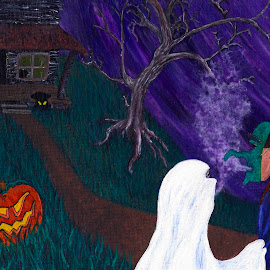 Trick or Treat by Rayleen Hall - Painting All Painting ( trick or treating, jack o lantern, spooky tree, pumpkin, ghouls, boys and ghouls, trick or treat, ghost, house on a hill, halloween, witch, haunted house, all hallows eve, ghouls and goblins, goblins )