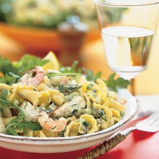 Seafood Pasta with Lemon-Saffron Herb Dressing