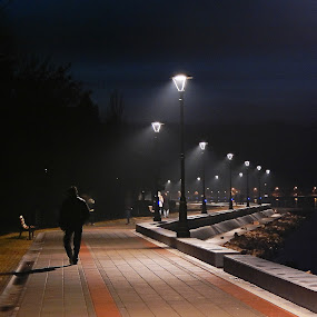Golubac, Serbia by Irena Čučković - City,  Street & Park  Night ( night, evening )