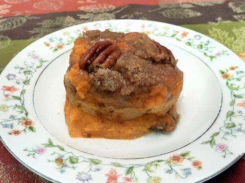Sweet Potato & Apple Casserole w/ Pecan Crunch Topping