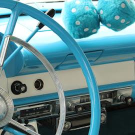 happy days by Patti Martin - Transportation Automobiles ( car, blue, vintage )