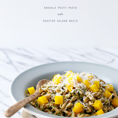 Arugula Pesto Pasta with Roasted Golden Beets