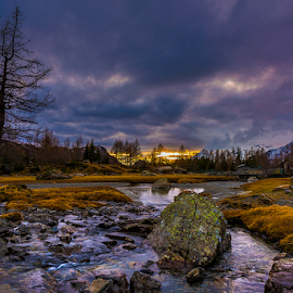 Valley of Preda Rossa by Roberto Melotti - Landscapes Waterscapes ( preda rossa, roberto melotti, valle, cloudy sunset, sunset, nikon d810, valley, river )