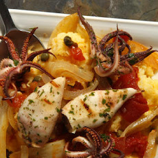Grilled Calamari with Braised Fennel and Polenta