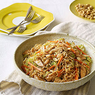 Fast-Fried Noodles with Chicken, Lettuce, Carrots, and Peanuts