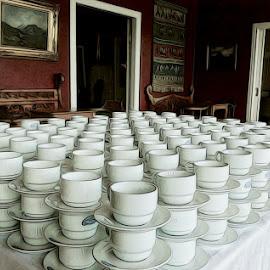 A cup of Tea by Lony Meyer - Artistic Objects Cups, Plates & Utensils ( høyvik room, kviknes hotel, kaiser wilhelm, esefjorden in norway., cup of tea, coffee, tea, norway,  )