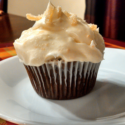 Gingerbread Cupcakes with Orange Cream Cheese Frosting