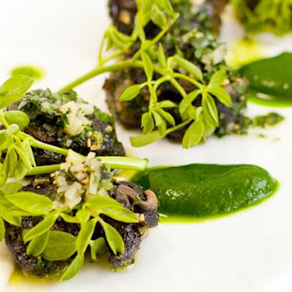 Escargots with Shallot Mousse and Parsley Coulis