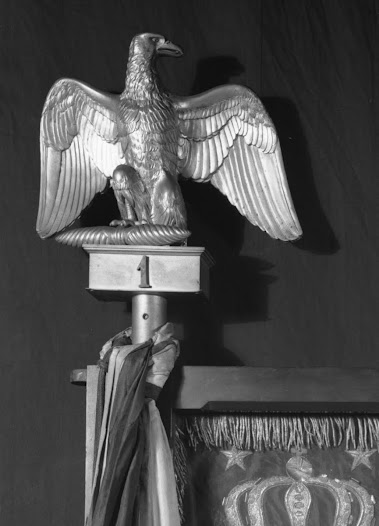 One more object was taken from the Short Gallery: a bronze eagle finial that sat atop a framed Napoleonic flag. It's another small object whose absence you could easily miss.