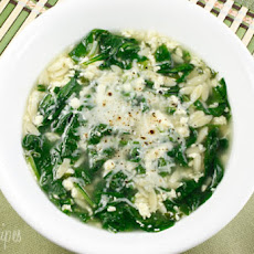 Spinach Stracciatella Soup with Orzo