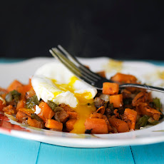Roasted Sweet Potatoes and Kale with Poached Eggs