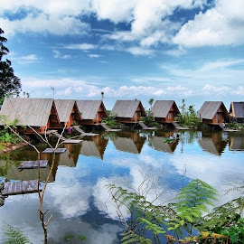 under the blue sky... by Yusnadi Gunawan - Buildings & Architecture Other Exteriors ( village, danau, lake, kampung )
