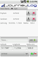 Screenshot of PhoneTrack Mileage Logger