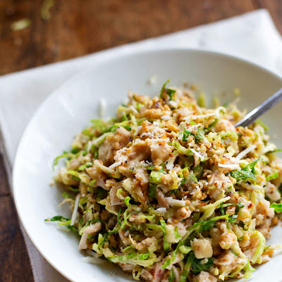Chopped Brussels Sprout Salad with Chicken and Walnuts