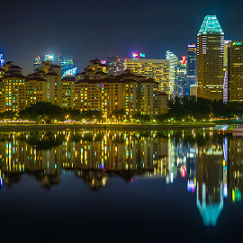 Reflected Skyline by Charles Ong - City,  Street & Park  Skylines ( lights, reflection, night photography, singapore, nightscape )