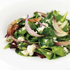 Wilted Spinach Salad with Warm Feta Dressing