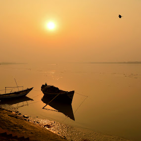 towards light... by Jayanti Chowdhury - Landscapes Sunsets & Sunrises ( ganga, west bengal, waterscape, budge budge, sunset, ganges, boat, golden hour, river,  )