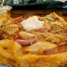 Rutabaga, Pear and Ham Tart with Marmalade Mascarpone Cream