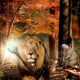Narnia by Karen Raymond Burke - Digital Art Animals ( water, mushroom, lion, photomanipulation, ditital art, court, glow, king, rat, hat, sparkles, fall, photoshop )