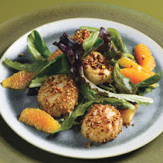 Coriander Scallops with Orange-Ginger Dressing