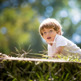 Summer Cuttie by Mike DeMicco - Babies & Children Child Portraits ( grass, green, little, happiness, beauty, cute, portrait, kid, child, nature, happy, outdoor, summer, baby, handsome, boy )