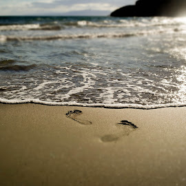 Footsteps In The Sand by Justina Zupkaite - Landscapes Beaches ( holiday, sand, warm, beach, footsteps )