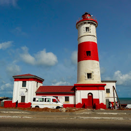 The lighthouse by Tomek Karasek - City,  Street & Park  Neighborhoods ( red, blue sky, stripped, white, lighthouse, accra )