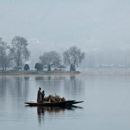 At Dal Lake by Mrinmoy Pratihar - Transportation Boats