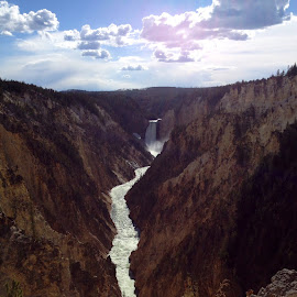 Lower Falls of Yellowstone , artists point  by Jeanette Geary - Travel Locations Landmarks