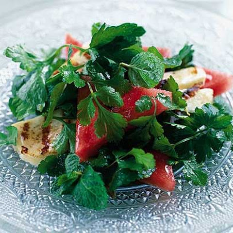 Watermelon & Herb Salad With Grilled Halloumi
