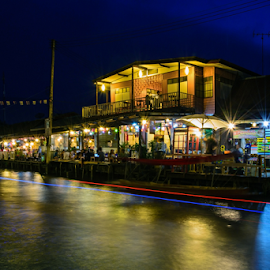 Amphawa in the Night by Roof LovelyAim - Landscapes Travel ( r.oof, famous, rooflovelyaim, relax, ruen sabai homestay, thailand, 18-105, people, amphawa, samut songkhram, long exposure, interesting, foreigner, floating market, d3100, beautiful, traditional, homestay, in the night, dinner, roof lovelyaim, tourist, market, nikon d3100, popular, night, rest, nikon af-s dx vr 18-105 )