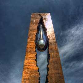 Tear Drop Monument by Ward Vogt - Buildings & Architecture Statues & Monuments ( gift, september 11, 9/11, 911, photography, tear drop, new jersey, bayonne, russia, blue, tear, monument, gold, nj, ward vogt )