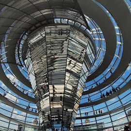 Inside the cupola by Christine Schmidt - Buildings & Architecture Architectural Detail ( fisheye, reichstag, berlin, architecture )
