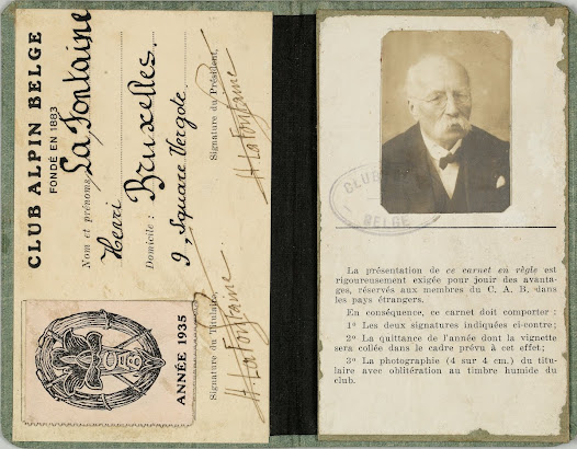 Membership card delivered to Henri La Fontaine by the Belgian Alpine Club for the year 1935