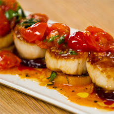 Seared Scallops With Roasted Beets And Cherry Tomato Sauce