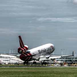 Touchdown 2 by Mike Bing - Transportation Airplanes ( martinair, schiphol, airport, landing, amsterdam, md11, cargo, netherlands )