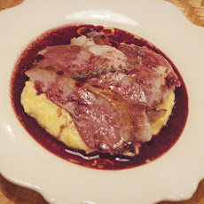 Caramelized Fillet of Lamb with Red Wine Jus and Creamy Polenta