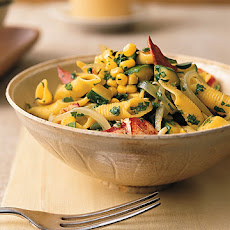 Penne with Lobster, Corn, Zucchini, and Arugula