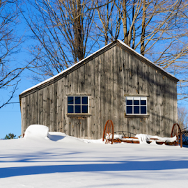 Working Farm by Fran McMullen - Buildings & Architecture Other Exteriors ( sky, winter, barn, snow )